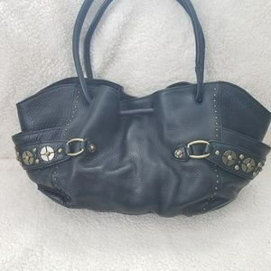 Cole haan purse black leather with brass elements